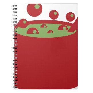 Roter und grüner kochender Topf Notizblock