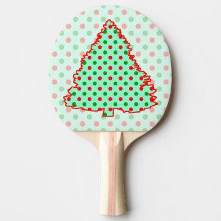 Roter und grüner Tupfen-Baum Tischtennis Schläger
