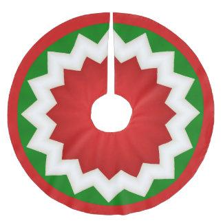 Roter und grüner Zickzack Polyester Weihnachtsbaumdecke