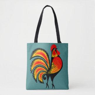 Roter und orange Hahn Tasche