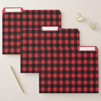 Roter und schwarzer Büffel kariert Papiermappe