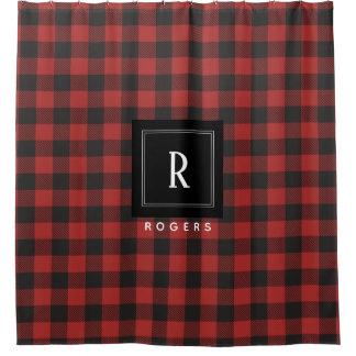 Roter und schwarzer Büffel-kariertes Monogramm Duschvorhang