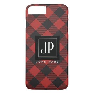 Roter und schwarzer Büffel-kariertes Monogramm iPhone 8 Plus/7 Plus Hülle