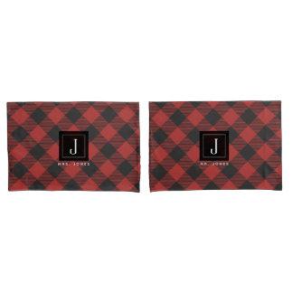 Roter und schwarzer Büffel-kariertes Monogramm Kissenbezug
