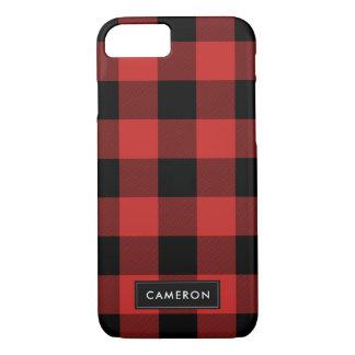 Roter und schwarzer Büffel-Karo kariert - iPhone 8/7 Hülle