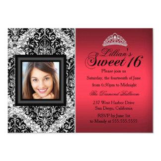 Roter und schwarzer Glitter-Damast-Foto-Bonbon 16 11,4 X 15,9 Cm Einladungskarte