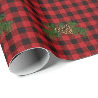 Roter und schwarzer karierter Kiefernkegel des Geschenkpapier