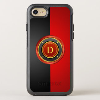Roter und schwarzer Poker-Chip mit Ihrem Monogramm OtterBox Symmetry iPhone 8/7 Hülle