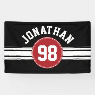 Roter und schwarzer Sport Jersey personalisiert Banner