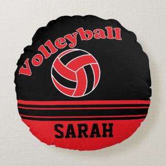 Roter und schwarzer Volleyball Rundes Kissen
