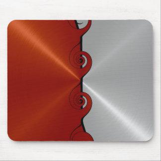 Roter und silberner Edelstahl-Metallstrudel Mauspads