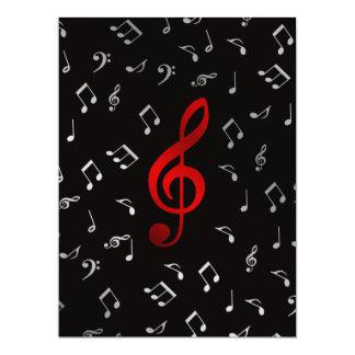roter und silberner Musiknoten 16,5 X 22,2 Cm Einladungskarte