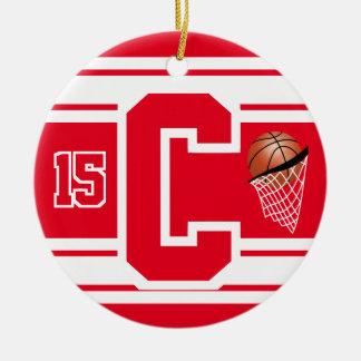 Roter und weißer Basketball-Buchstabe C Rundes Keramik Ornament