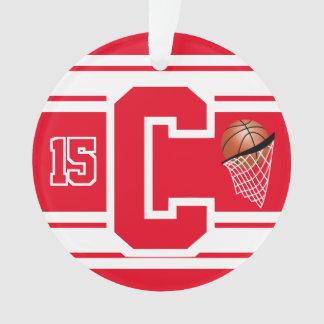 Roter und weißer Basketball-Buchstabe u. Zahl Ornament