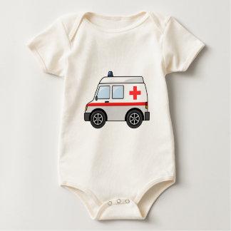 Roter und weißer Cartoon-Krankenwagen Baby Strampler