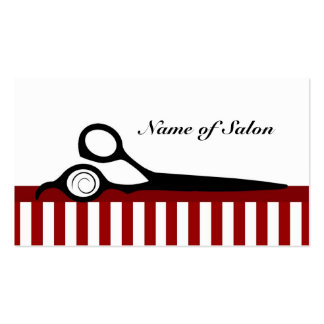 Roter und weißer Friseur Stripes Visitenkartenvorlagen
