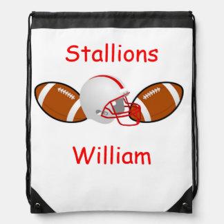 Roter und weißer Fußball-personalisierter Rucksack Sportbeutel