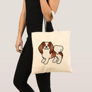 Roter und weißer Japanerchin-Cartoon-Hund Tragetasche