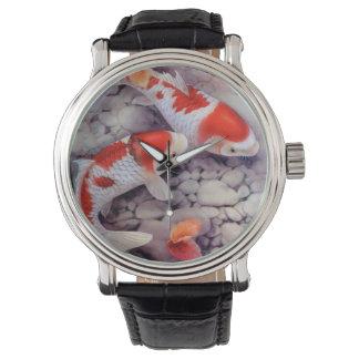 Roter und weißer Koi Fisch-Teich Armbanduhr