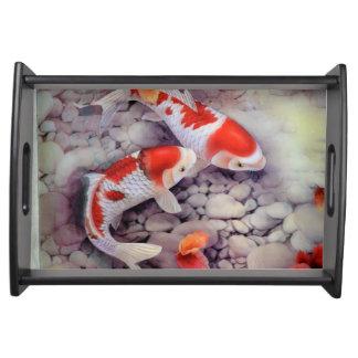 Roter und weißer Koi Fisch-Teich Tablett