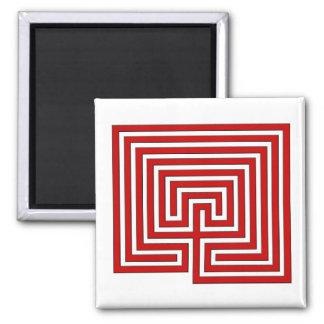 Roter und weißer Labyrinth-Quadrat-Magnet Quadratischer Magnet