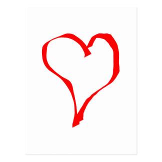 Roter und weißer Liebe-Herz-Entwurf Postkarte