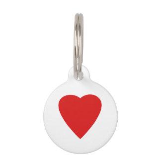 Roter und weißer Liebe-Herz-Entwurf Tiernamensmarke