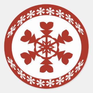 Roter und weißer Schneeflocke-Feiertag Runder Aufkleber