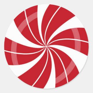 Roter und weißer Süßigkeitsstrudel, Runder Aufkleber