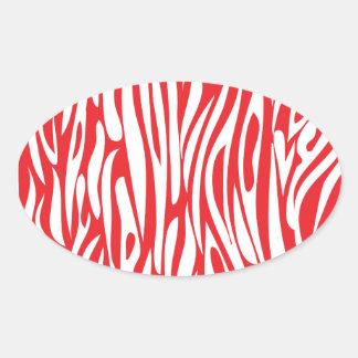 Roter und weißer Tierdruck Ovaler Aufkleber