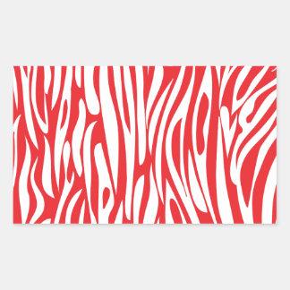 Roter und weißer Tierdruck Rechteckiger Aufkleber
