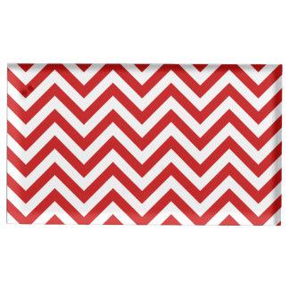 Roter und weißer Zickzack Stripes Zickzack Muster Tischnummernhalter