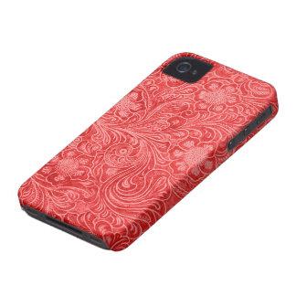 Roter Veloursleder-Leder-Blick prägeartige Blumen iPhone 4 Hülle