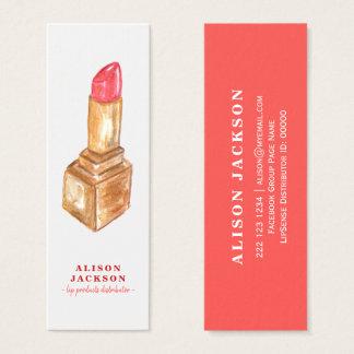 Roter Verteiler des Lippenstift-Aquarells Mini Visitenkarte