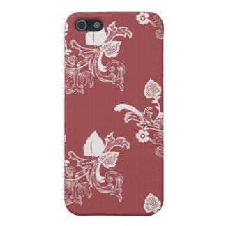 Roter Vintager Blumenmuster-Entwurf iPhone 5 Cover