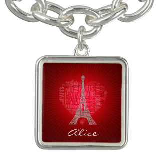 Roter Vintager Charme Liebe-Paris | Charm Armband