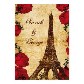 roter Vintager Eiffel-Turm Paris danken Ihnen Karte