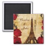 roter Vintager Eiffel-Turm Paris Save the Date Kühlschrankmagnete