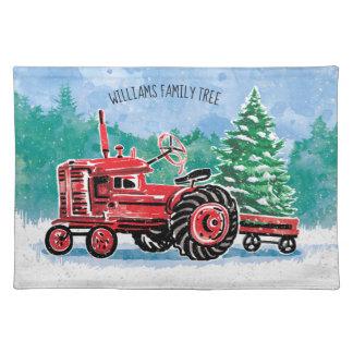 Roter Vintager Traktor-Weihnachtsbaum addieren Stofftischset