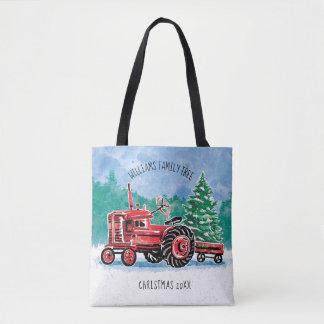 Roter Vintager Traktor-Weihnachtsbaum addieren Tasche
