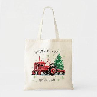 Roter Vintager Traktor-Weihnachtsbaum addieren Tragetasche