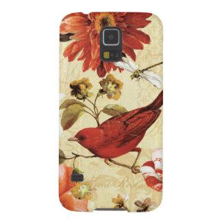 Roter Vogel in einem Blumen-Garten Samsung S5 Cover