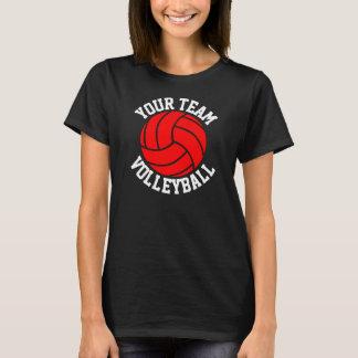 Roter Volleyball-das schwarze T-Stück der T-Shirt