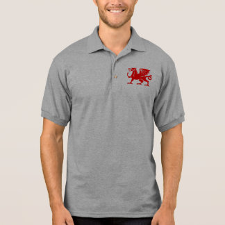 Roter Waliser-Drache Polo Shirt