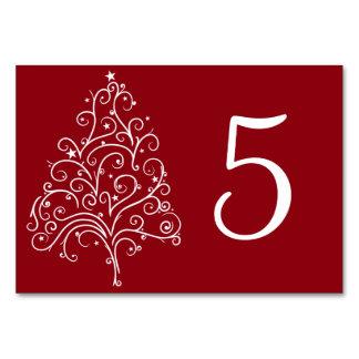 Roter Weihnachtsbaum-Winter-Wedding Tischnummern