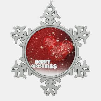 Roter Weihnachtsdekor Schneeflocken Zinn-Ornament
