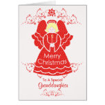 Roter Weihnachtsengel für Enkelin Grußkarten