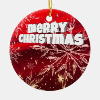 Roter Weihnachtsweißschnee Rundes Keramik Ornament