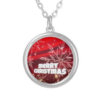 Roter Weihnachtsweißschnee Versilberte Kette