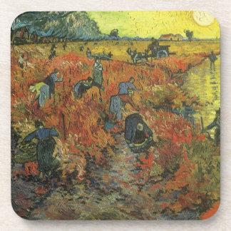 Roter Weinberg durch Vintage Impressionismus-Kunst Getränkeuntersetzer